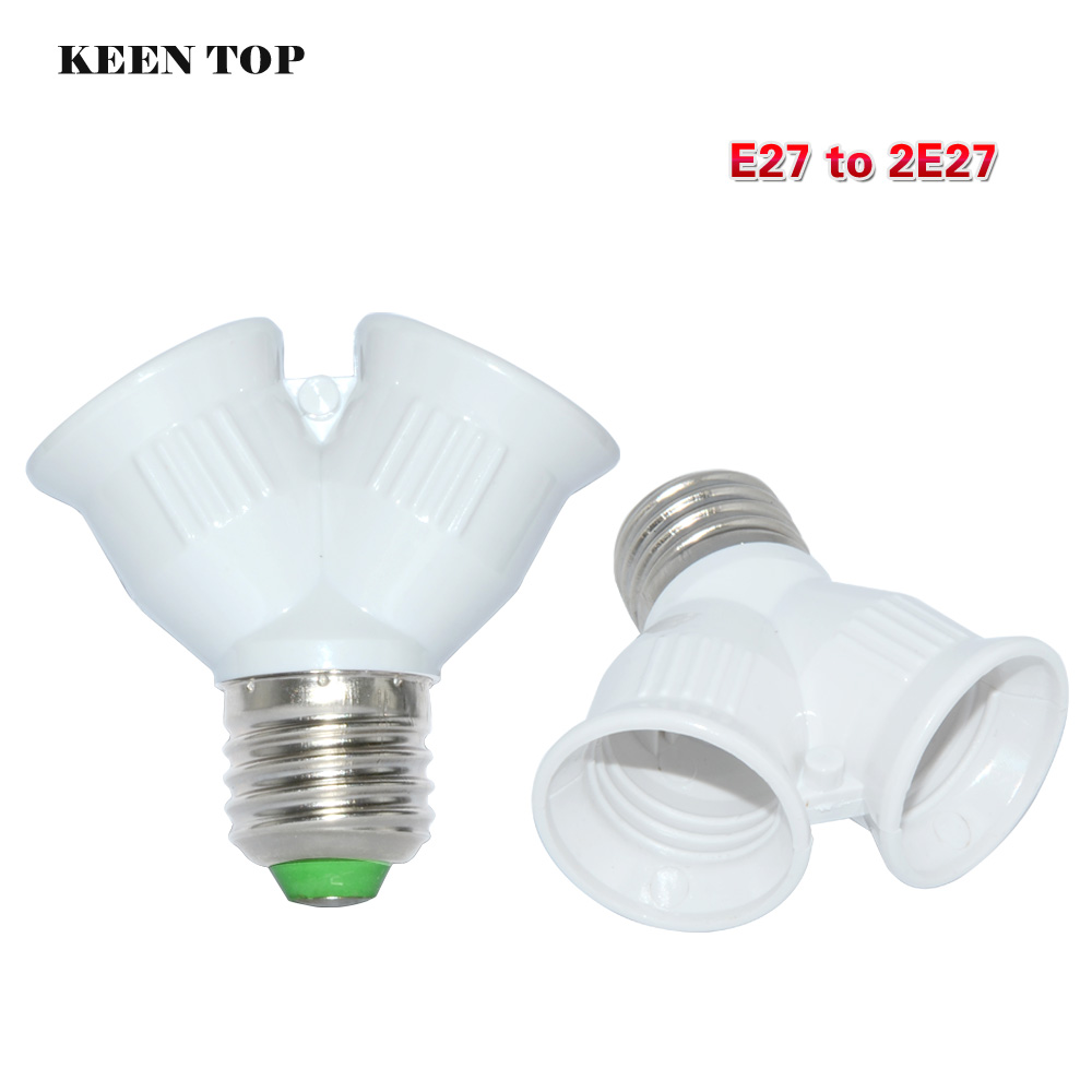 Brand Quality E27 To 2xe27 1 To 2 Y Shape Led Halogen Cfl Bulb Base Light Lamp Splitter Split