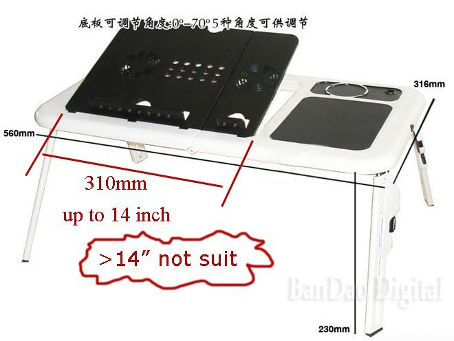 Folding Laptop/Notebook Reading table working desk stand cooler for bed 2 Fans(China (Mainland))