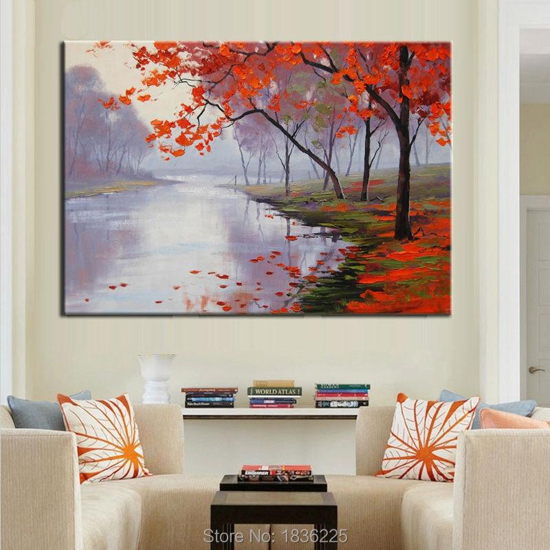 Compra las hojas del rbol de pintura al leo online al - Pinturas modernas para interiores ...