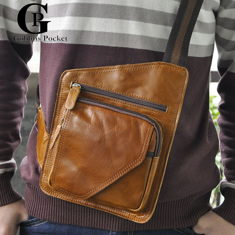 [Goblins Pocket]Pure Color Cowhide Man Small Bag Vintage Style 100%Genuine Leather For IPHONE/Wallet Mens Messenger Bag GP/8072<br><br>Aliexpress