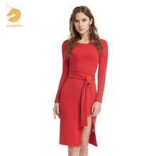 2016 Winter Autumn WomenDress New Ladies Sexy Vintage Dress High Waist Party Dresses Sexy Red Women Knee-Length Dress M15483(China (Mainland))