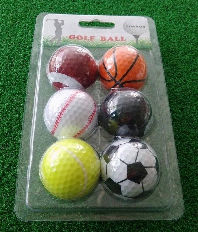 6 pcs per packaging funny sport theme basket ball / table ball / rugby / football / baseball / tennis golf ball(China (Mainland))
