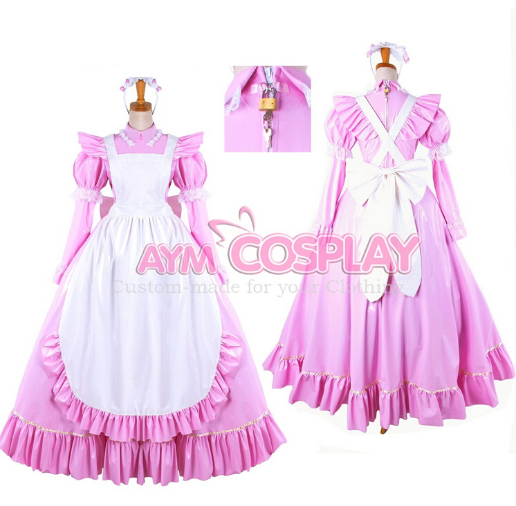 Custom Made Womens Anime Lockable Pink PVC Maid Costume Lolita Uniform Princess Dresses Cosplay - Touch sa's store