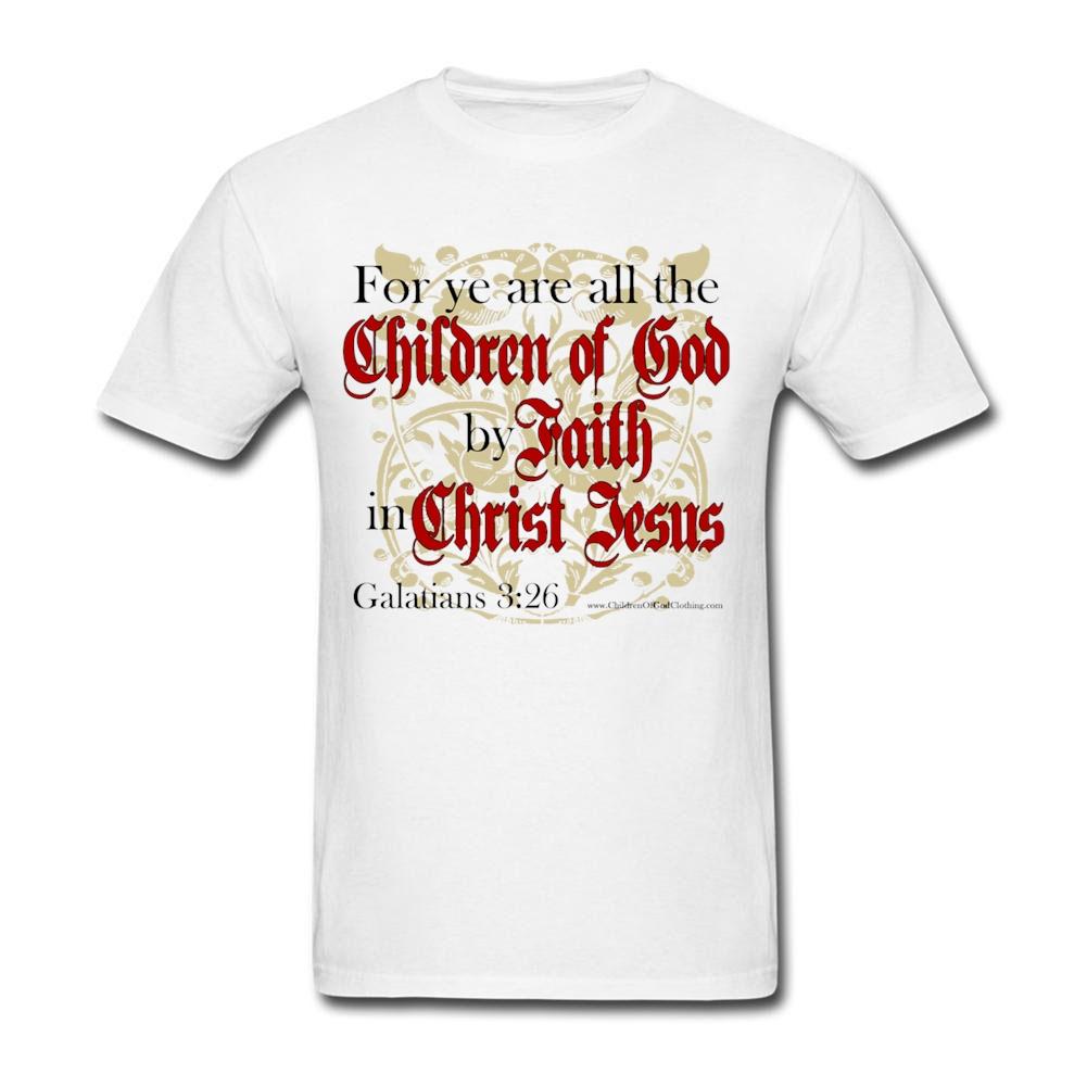 Men's Male Children of God by Faith Christian T Shirt Bible Jesus Christ Tshirt Custom Short Sleeve Birthday's For Male Men(China (Mainland))