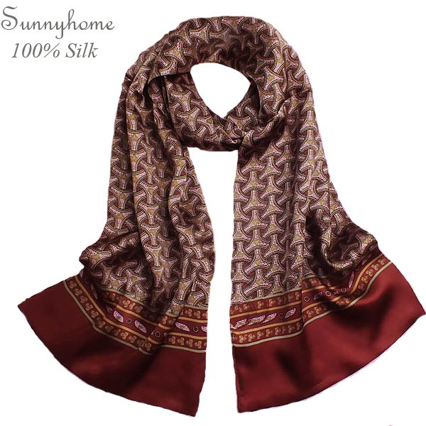 Double Layer 100% Pure Silk checked scarf men Shawl Winter Fashion British Wine Red Plaid Long Scarfs Mens large silk scarves