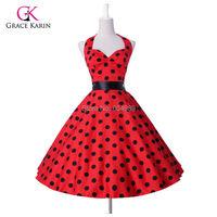 2015 Grace Karin Plus size Women Polka Dots 50s 60s Retro Vintage Rockabilly Swing Pinup vestidos Summer Style Party Dress