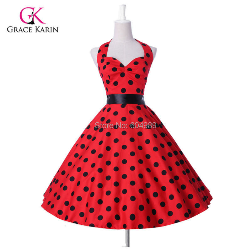 2015 Grace Karin Plus size Women Polka Dots 50s 60s Retro Vintage Rockabilly Swing Pinup vestidos Summer Style Party Dress(Hong Kong)