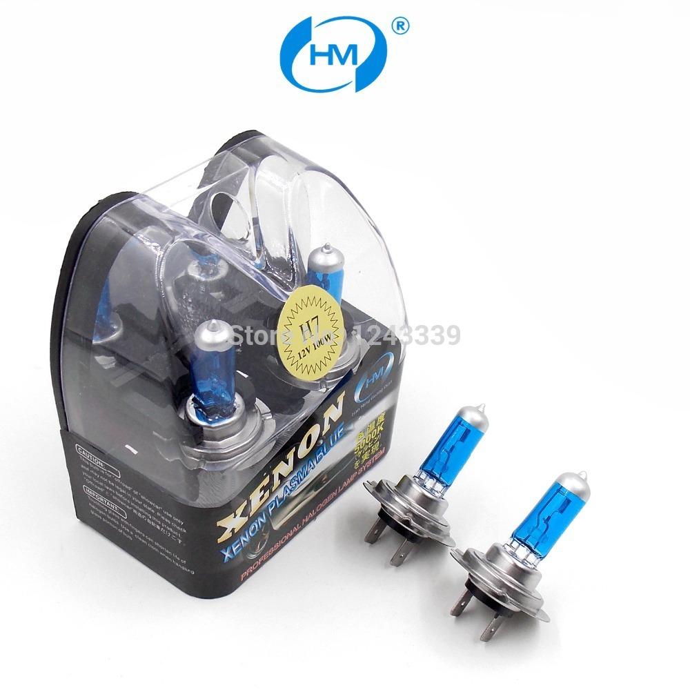 HM Xenon Plasma Super white light H7 12V 100W Halogen Automotive Car Head Light Bulbs Lamp (a Pair)(China (Mainland))