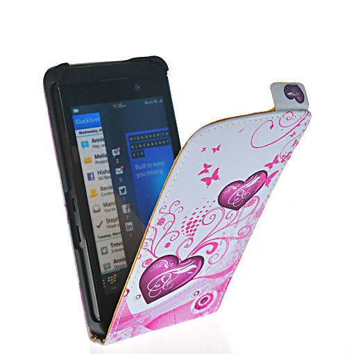 Beautiful and durable heart style leather flip pouch case cover FOR Blackberry Z10 London, Surfboard, L-Series, L10 24
