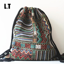 2016 Women Vintage Backpack Gypsy Bohemian Boho Chic Hippie Aztec Navajo Tribal Woven String Backpack Female Drawstring Rucksack(China (Mainland))
