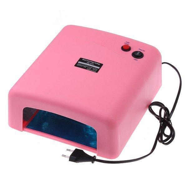 36W 220-240V EU Plug Pink UV Lamp Nail Dryer Polish Nail Polish Gel Curing Nail Tools 4pcs 9W 365nm UV Lamps Bulb Free Shipping(China (Mainland))