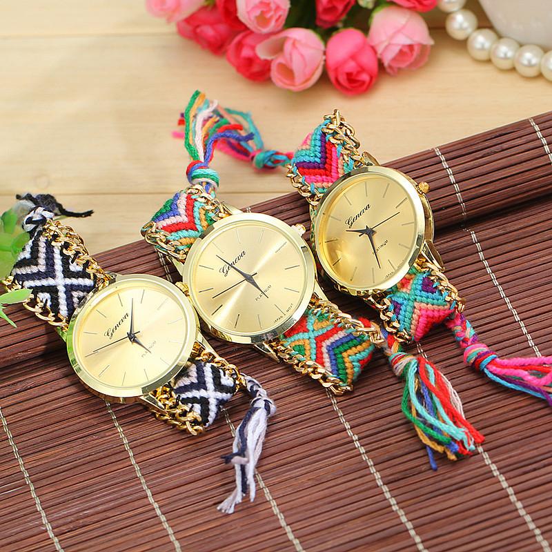 13 Colors New Brand Handmade Braided Friendship Bracelet Watch GENEVA Hand-Woven Watch Ladies Quarzt Watches reloj(China (Mainland))