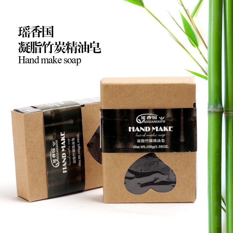 Charcoal Soap Skin Care Bamboo Soaps Oil Control Acne Remove Blackhead Anti-Wrinkle Shrink Pores Deep Cleaning Black Soap Base(China (Mainland))
