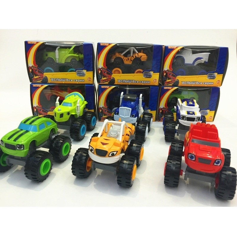 6 pcs. / Set. flame monster car toy car car brine Zeg Darrington mill band with original box best gifts for children(China (Mainland))