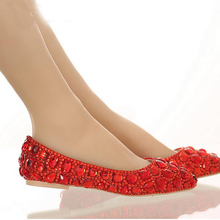 Flat Heel Pointed Toe Shoes Colorful Rhinestone Bride Shoes Flats Wedding Bridal Shoes Silver Red Pink