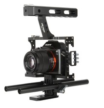 Buy 15mm Rod Rig DSLR Camera Video Cage Kit Stabilizer + Top Handle Grip Sony A7 II A7r A7s A6300 A6000 Panasonic GH4 GH3 for $64.73 in AliExpress store