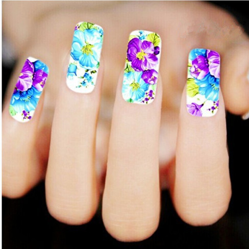 [T-XF1377] Water Transfer Nail Decals, Purple Flower Designs Watermark Nail Art Stickers Tattoos Decorations Tools For Polish(China (Mainland))