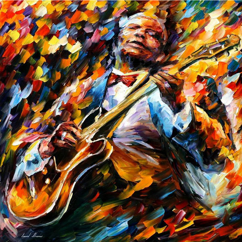 musican picture retro fashion Canvas Oil Painting 100% Hand Painted Knife Painting home decor Wall Art Frameless 44245(China (Mainland))