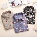 Dioufond New Autumn Women Blouse 2015 Floral Print Long Sleeve Cotton Women Shirts Turn Down Collar