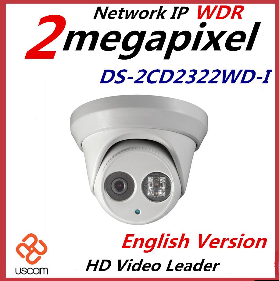 Wholesale English Version IP Camera DS-2CD2322WD-I 3MP 1080p mini dome Network IP Camera IR POE cctv camera 2.8mm<br>