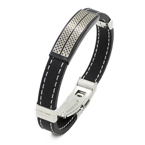 Trendy Black Silver Stainless Steel Cuff Rubber Wristband Men Boys Cool Bangle 9GJW(China (Mainland))