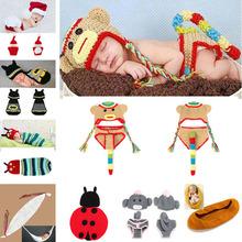 Lovely Animal Designs Crochet Baby Hat Beanie Photo Photography Props Knitted Newborn Costume Batman Monkey 1set/lot MZS-14043(China (Mainland))