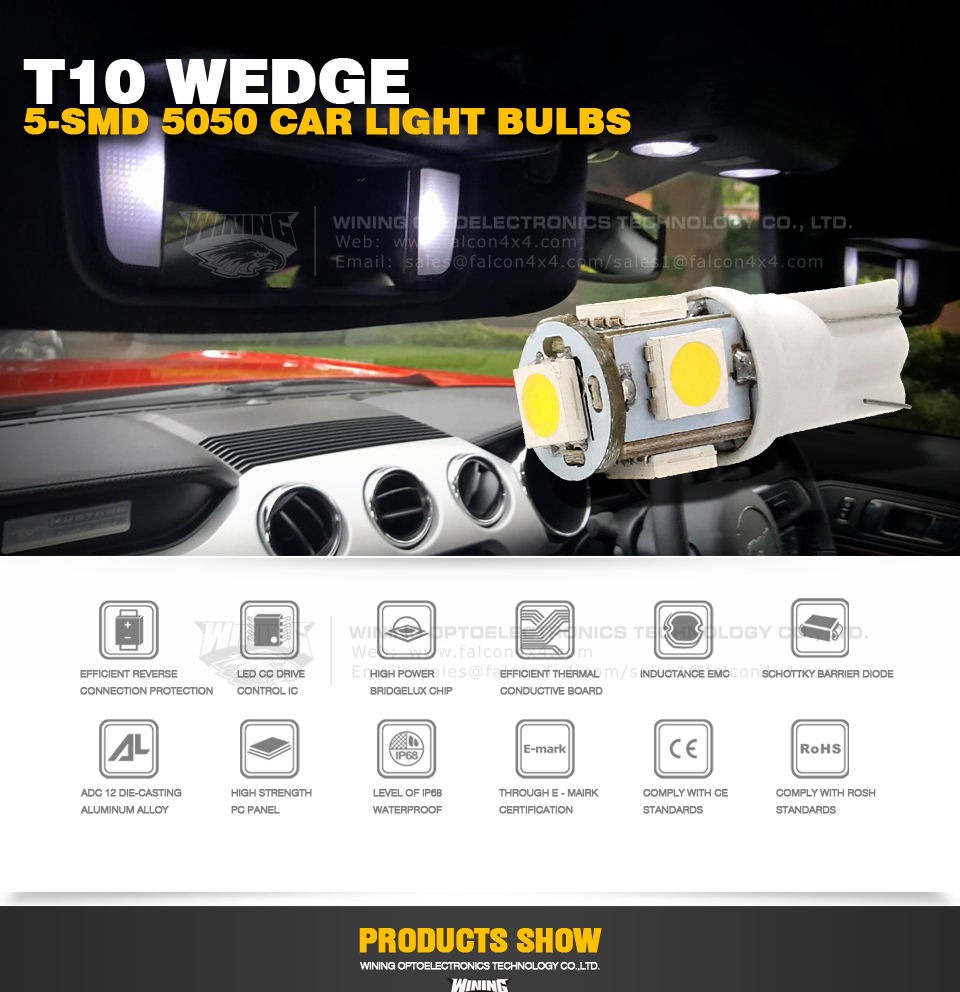 2017 10pcs New Hot T10 Wedge 5-SMD 5050 Xenon Car LED Light bulbs 192 168 194 W5W 2825 158 Cool White Free shipping & wholesale