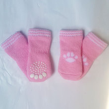 2015 Hot Sale Dog Socks 100% Cotton dog footprints Pet shoes with Bottom Non-slippery Warm Sock 4 Pcs Free Shipping
