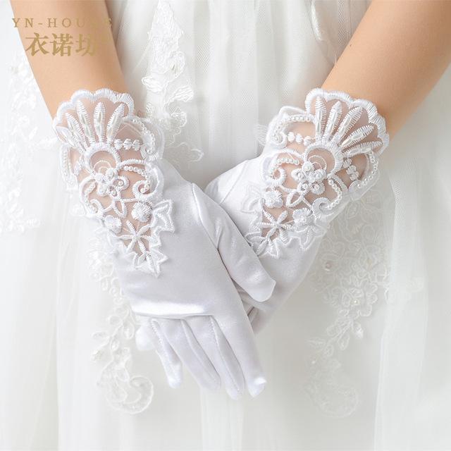 В наличии! Розничная мода малыш кружева атласа с пальцев короткие перчатки для цветочных ...