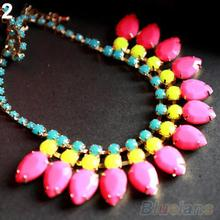 Women s Fashion Jewelry Sweet Acrylic Pendant Chain Choker Statement Bib Necklace 1HOZ