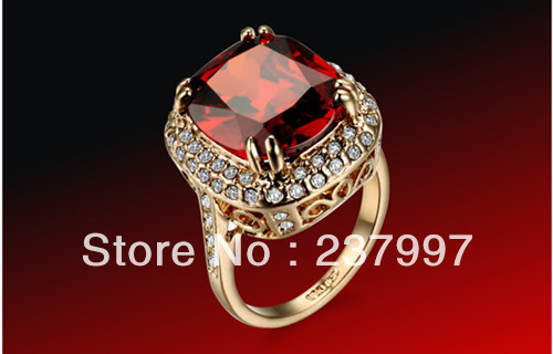 wholesale Xmas 6 kt rose gold ruby crystal diamond ladies ring