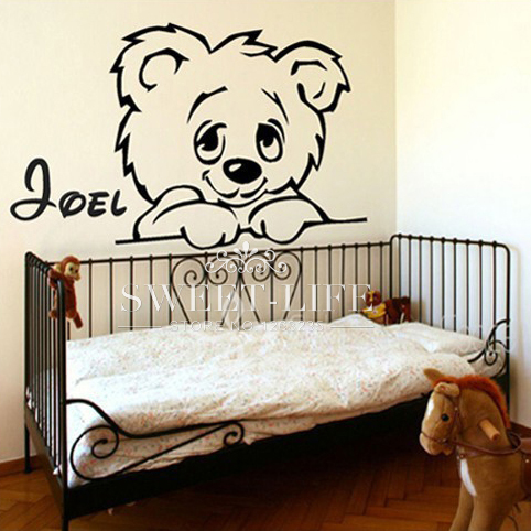 free shipping TEDDY BEAR decal sticker custome name home