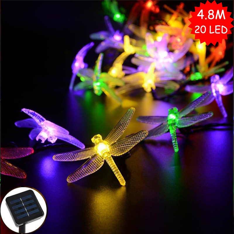 Colorful Dragonfly 4.8M 20 Leds Solar Powered Outdoor String Lights Fairy Garland Decoration For Christmas Tree/Garden/Party(China (Mainland))