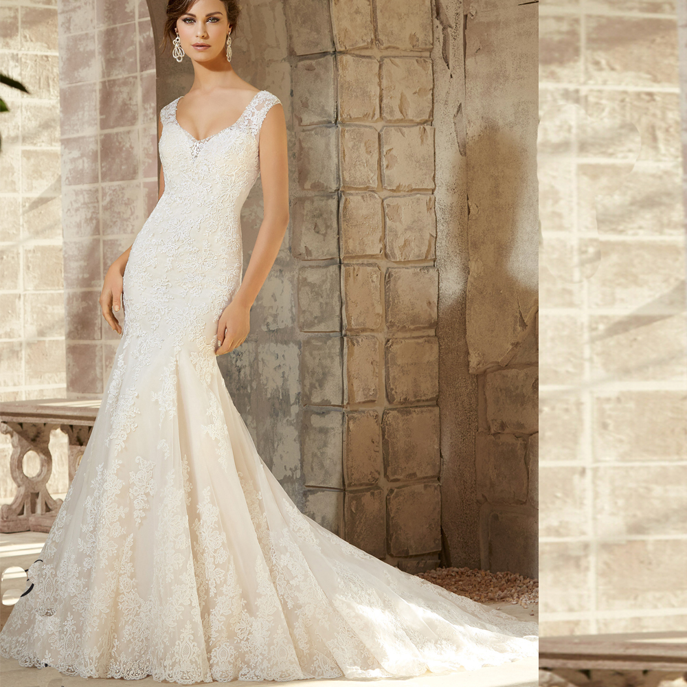 Elegant illusion v neck fit and flare wedding dress ivory for All lace fit and flare wedding dress