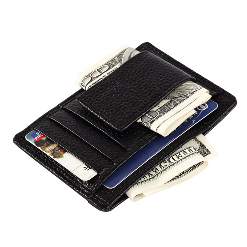 One Piece Wallet Simply Make It Easy Credit Card Holders Black Leather Purse Top Quality Free Shipping(China (Mainland))