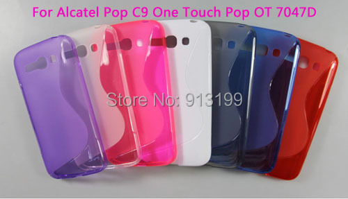 Free shipping 1pcs Soft TPU Gel Silicone Skin Cover Back Case For Alcatel Pop C9 One Touch Pop OT 7047D Mobile Phone(China (Mainland))