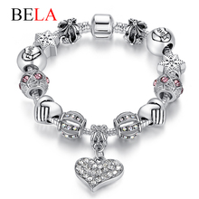 Luxury Brand Women Bracelet Unique Silver Crystal Charm Bracelet for Women DIY 925 Beads Bracelets & Bangles Jewelry Gift PS3307(China (Mainland))