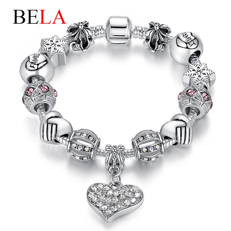 Luxury Brand Women Bracelet Unique Silver Crystal Charm Bracelet for Women DIY 925 Beads Bracelets Bangles