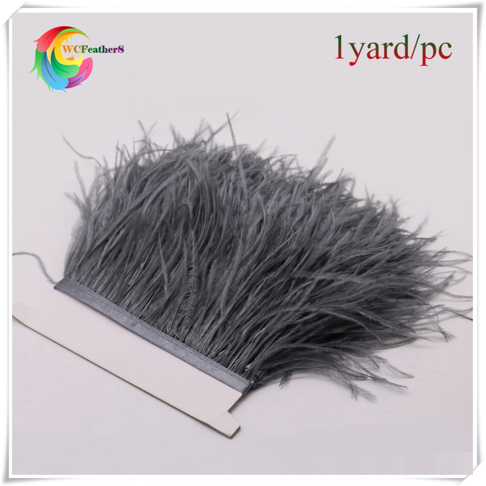 Free Shipping 1yard per lot real fluffy Ostrich Feather fringe trims dark gray Ostrich feather Trimming with satin ribbon tape(China (Mainland))