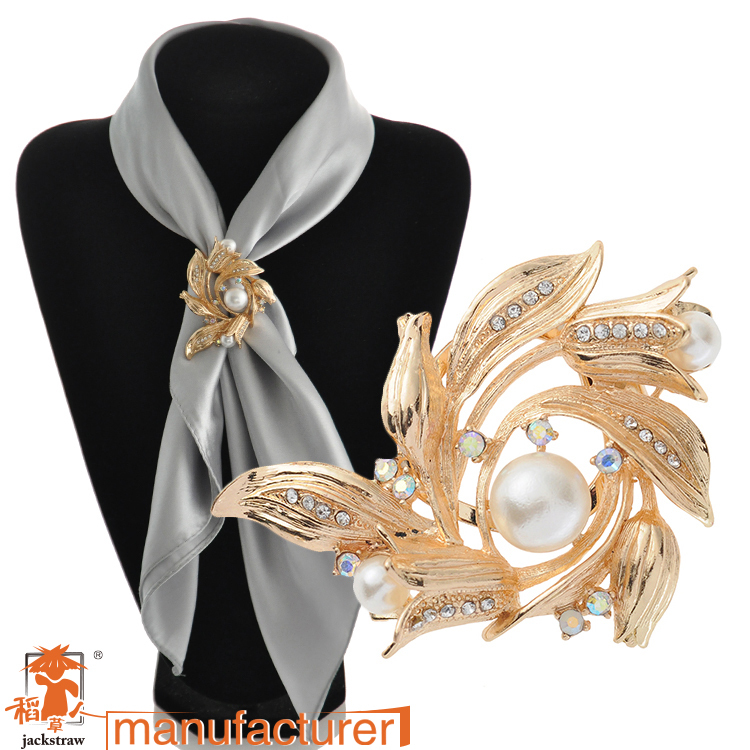 Fashion china wholesale pearl rhinestone flower wedding gold large brooches /scarf buckle dual for women(China (Mainland))