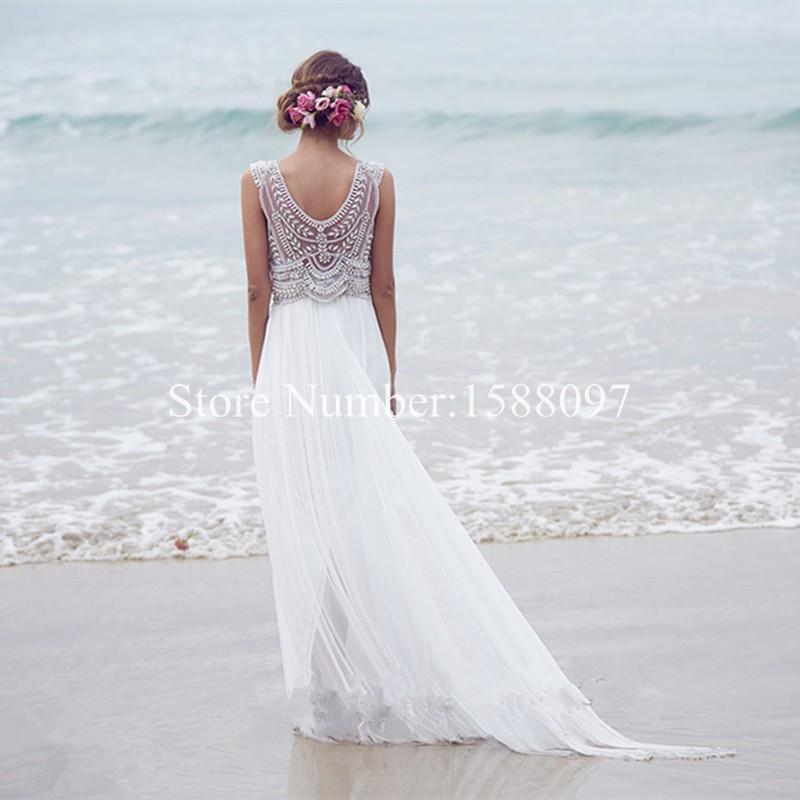 Anna Campbell Vintage v neck crystal beaded wedding dresses boho beach chiffon wedding dress pearl cap