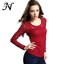 Female 2016 New Lace Blouse Fashion Crochet Lace Tops Long Sleeve Shirts Women Blouses Red Black Blue White Top Chemise Femme(China (Mainland))