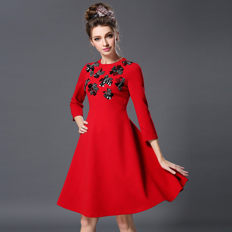 Plus size 5XL 2016 one-piece dress Women Dresses fashion long-sleeve slim a-line skirt Vestido Party Dress Vestidos Wedding