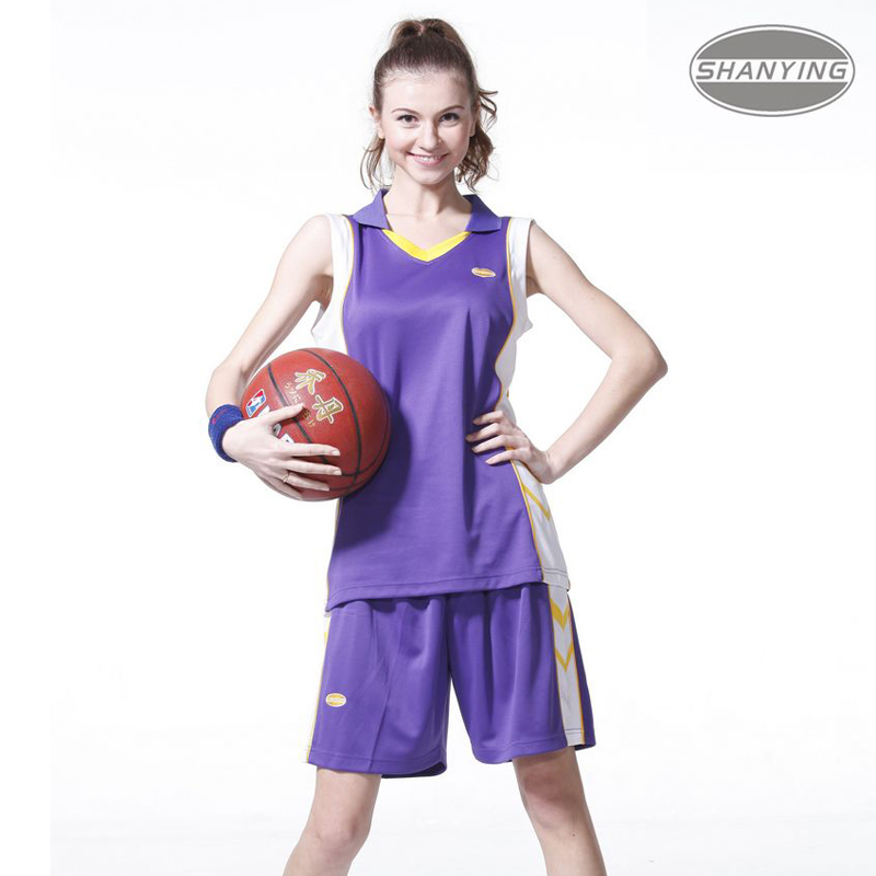 (Large size L-3XL)Print number Girls female Women basketball clothing suits set .4 color Competition Training Ladies jersey(China (Mainland))