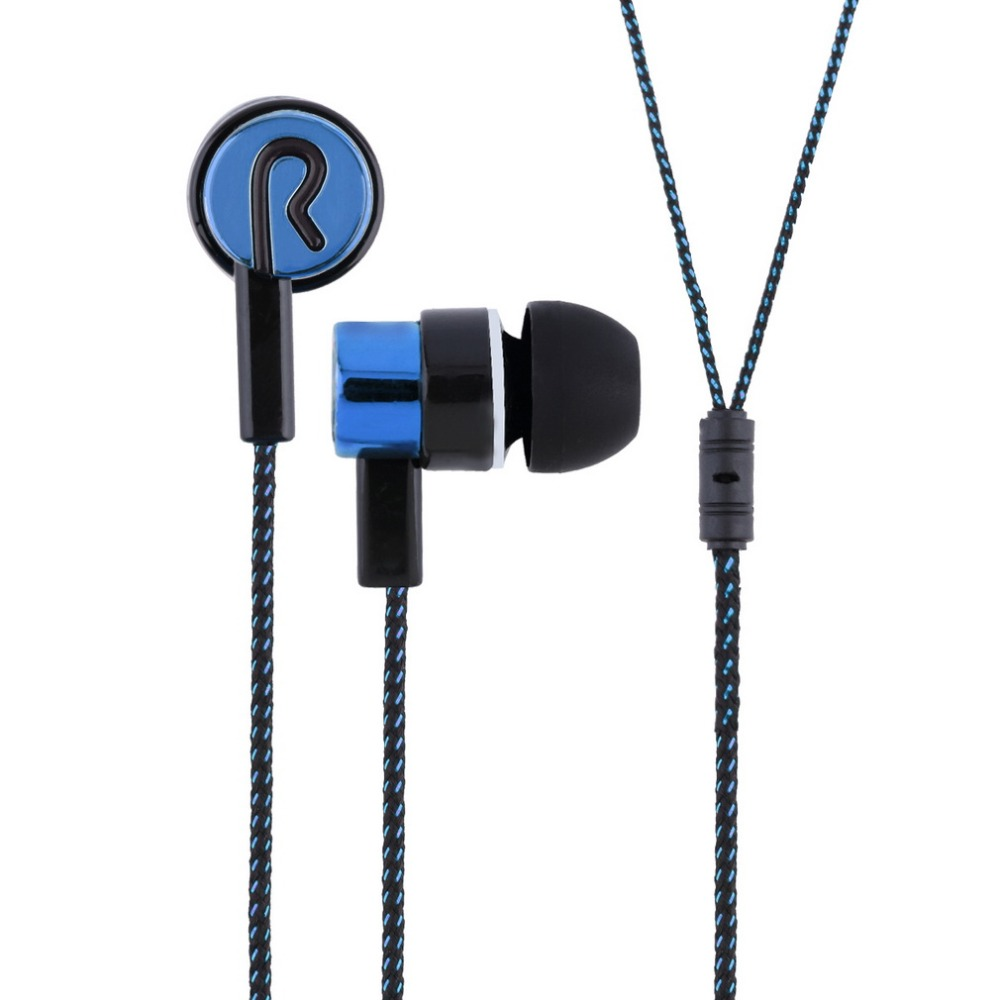 2015 Metal Earphones Jack Standard Noise Isolating Reflective Fiber Cloth Line 3.5mm Stereo In-ear Earphone Earbuds(China (Mainland))