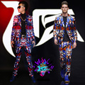 2016 Fashion Men Skinny Slim Printed Suits Ds Dj Male Singer Dancer Performance Outerwear Prom Costume