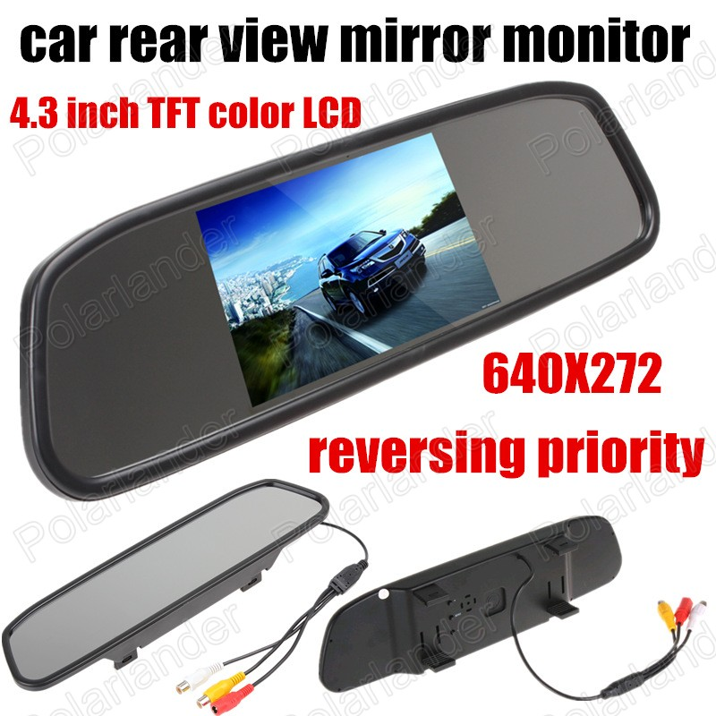 Auto Parking Assistance Night Vision 4.3 inch 640x272 Car Reverse Mirror Monitor for Rear View Camera reversing priority<br><br>Aliexpress