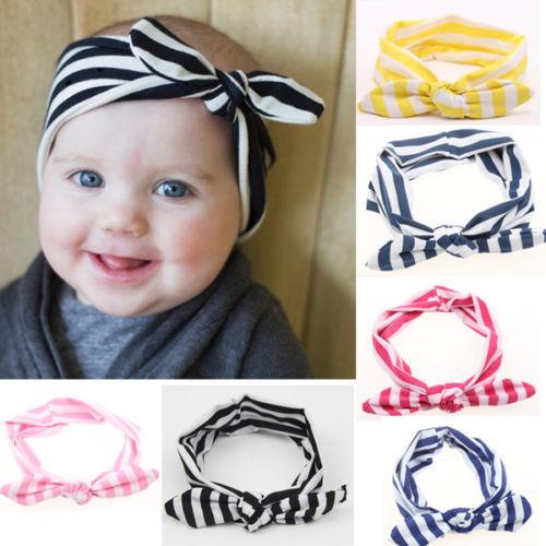 1 PCS Baby Girl Kids Soft Stretch Stripe Rabbit Bow Turban Hairband Headband Head Wrap(China (Mainland))