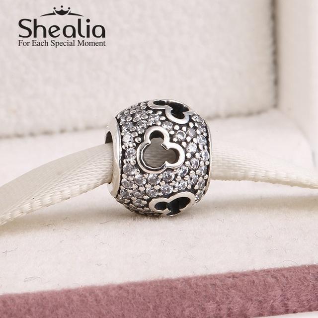 925 чистое серебро микки силуэты подвески-талисманы вымощает прозрачный циркон для женщины ювелирные изделия fit подвески браслет Er454