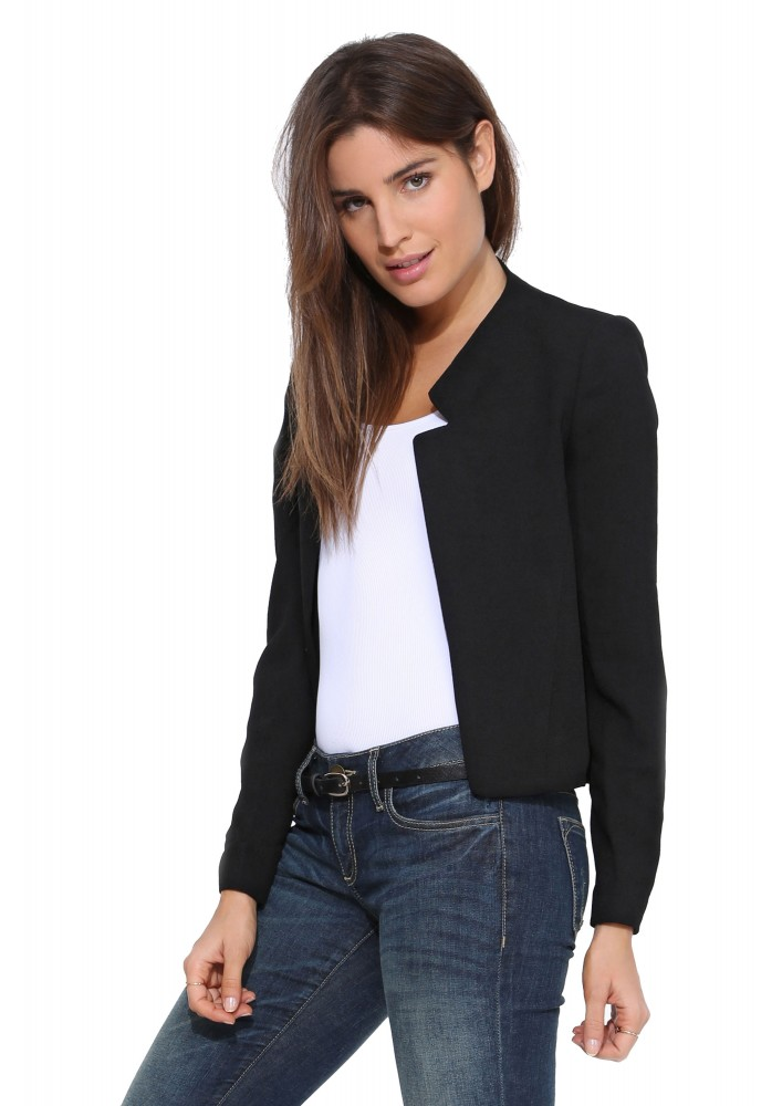 Korean Heirs Krystal Women Black Blazer Casacos Feminino 2015 Autumn All-Match Casual Slim Suit Jacket Jaqueta De Couro 51340(China (Mainland))